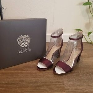 NWT Vince Camuto Corlina Wine Ankle Strap heels 8